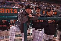 San Jose Giants John Gavin (19), Gio Brusa (17), and John Riley (15) during a California League game against the Visalia Rawhide on April 12, 2019 at San Jose Municipal Stadium in San Jose, California. Visalia defeated San Jose 6-2. (Zachary Lucy/Four Seam Images)