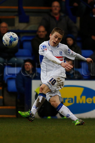 28.03.2015.  Tranmere, England. Skybox League 2. Tranmere Rovers versus AFC Wimbledon.  Tranmere Rovers scorer George Green.