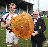 Wednesday 21st March 2012 - Matthew Clarke with Ulster Branch President Laurence Caldwell and the Ulster Schools Subsidiary Shield Final between Limavady Grammar School and Royal School Armagh at Ravenhill, Belfast.<br /> <br /> Picture credit: John Dickson / DICKSONDIGITAL