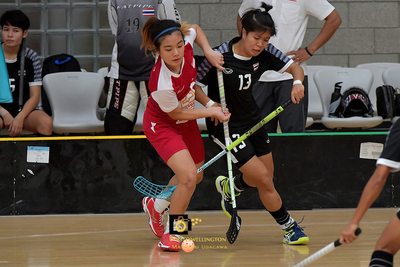 Singapore's Mindy Lim and Thailand's Onuma Doungsuda in action during the World Floorball Championships 2017 Qualification for Asia Oceania Region - Singapore v Thailand at ASB Sports Centre , Wellington, New Zealand on Sunday 5 February 2017.<br /> Photo by Masanori Udagawa<br /> www.photowellington.photoshelter.com.