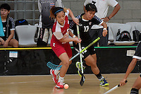 Singapore&rsquo;s Mindy Lim and Thailand&rsquo;s Onuma Doungsuda in action during the World Floorball Championships 2017 Qualification for Asia Oceania Region - Singapore v Thailand at ASB Sports Centre , Wellington, New Zealand on Sunday 5 February 2017.<br /> Photo by Masanori Udagawa<br /> www.photowellington.photoshelter.com.