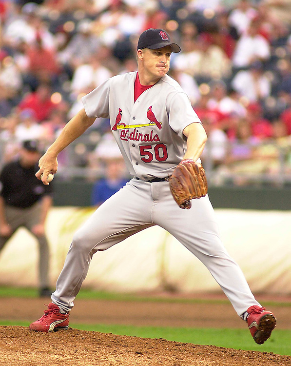 Saint Louis Cardinals right handed pitcher Mike Timlin enters the game in the ninth inning against the Royals at Kauffman Stadium in Kansas City, Missouri on June 9, 2002.  Kansas City won 3-2.