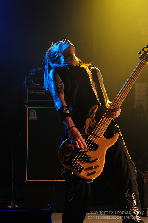 Kaohsiung, Taiwan -- Bassist MATSUBAI of the Japanese metal band SOUNDWITCH on stage during the 'Kiss Me Kill Me 2011 Tour' at The Wall Live House (Pier 2) in Kaohsiung, Taiwan.
