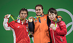 (L-R) Sri Wahyuni Agustiani (INA), Sopita Tanasan (THA), AUGUST 6, 2016 - Weightlifting : Gold Sopita Tanasan Sopita Tanasan of Thailand, silver medalist Sri Wahyuni Agustiani of Indonesia and bronze medalist Hiromi Miyake of Japan pose with their medals during the medal ceremony for the the Women's 48kg during the Rio 2016 Olympic Games at Riocentro Pavilion 2 in Rio de Janeiro, Brazil. (Photo by Enrico Calderoni/AFLO SPORT)