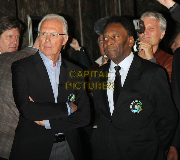 April 17,  2015: Franz Beckenbauer,Pele, Cosmos Legends Light Empire State Building in Cosmos Green to launch the 2015 Season  in New York. <br /> CAP/MPI/RW<br /> &copy;RW/MPI/Capital Pictures