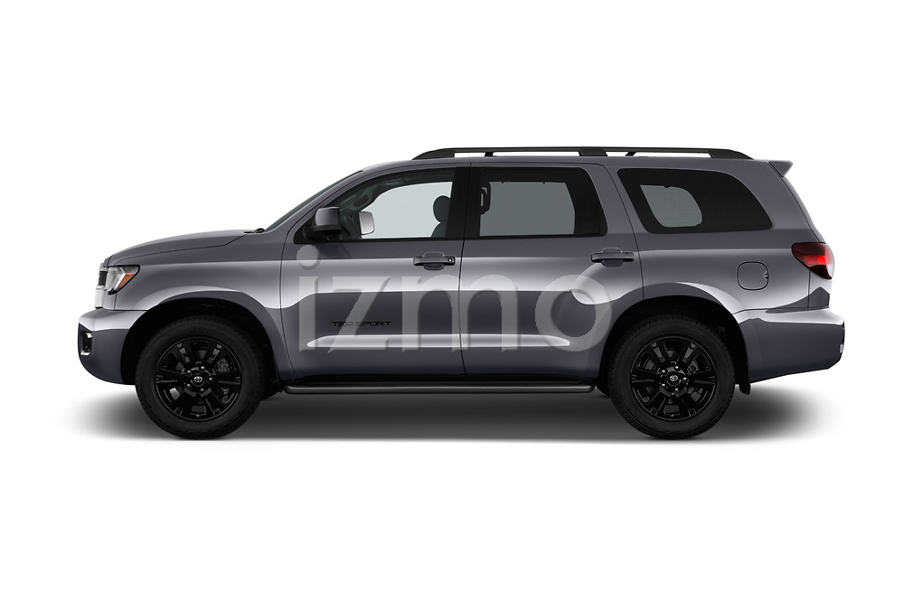 Car driver side profile view of a 2018 Toyota Sequoia TRD Sport 5 Door SUV