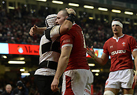 Wales Ken Owens celebrates scoring his sides fourth try with Barbarians Captain Rory Best<br /> <br /> Photographer Ian Cook/CameraSport<br /> <br /> 2019 Autumn Internationals - Wales v Barbarians - Saturday 30th November 2019 - Principality Stadium - Cardifff<br /> <br /> World Copyright © 2019 CameraSport. All rights reserved. 43 Linden Ave. Countesthorpe. Leicester. England. LE8 5PG - Tel: +44 (0) 116 277 4147 - admin@camerasport.com - www.camerasport.com