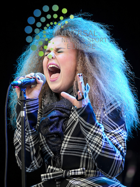 "Tallia Storm supports Elton John at Falkirk Stadium..The Scottish teenager was asked by Elton John to open his Falkirk concert in June after he heard her singing...Sir Elton called 13-year-old Tallia Storm on her mobile after listening to a CD she had given to the star's partner, David Furnish...Soul singer Tallia said it was ""surreal"" to speak to Sir Elton, who was one of her musical heroes...Picture: Alan Rennie/Universal News and Sport (Scotland)."