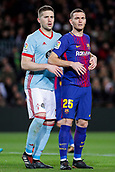 11th January 2018, Camp Nou, Barcelona, Spain; Copa del Rey football, round of 16, 2nd leg, Barcelona versus Celta Vigo; Thomas Vermaelen of FC Barcelona finds himself held at a corner kick by Fontas of Celta Vigo