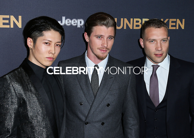 HOLLYWOOD, LOS ANGELES, CA, USA - DECEMBER 15: Miyavi, Takamasa Ishihara, Garrett Hedlund, Jai Courtney arrive at the Los Angeles Premiere Of Universal Pictures' 'Unbroken' held at the Dolby Theatre on December 15, 2014 in Hollywood, Los Angeles, California, United States. (Photo by Xavier Collin/Celebrity Monitor)