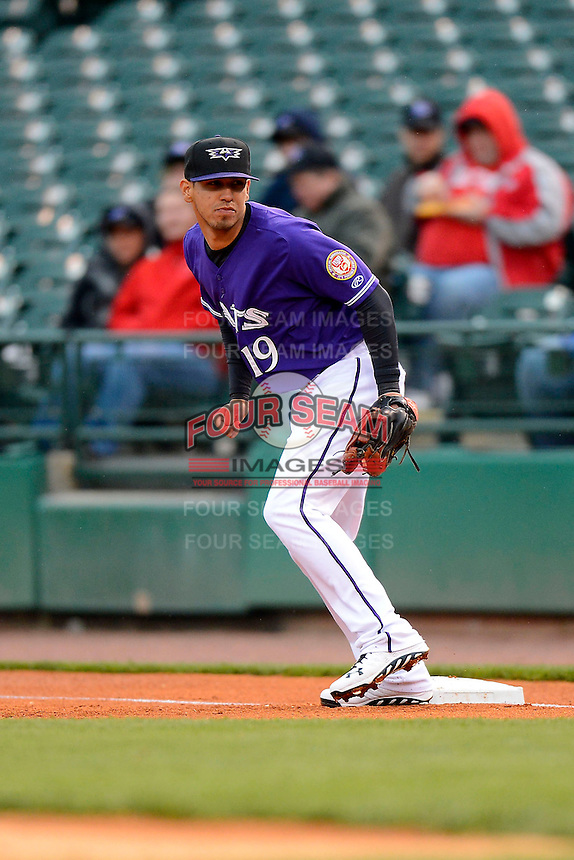 Louisville Bats first baseman Neftali Soto #19 during a game against the Indianapolis Indians on April 19, 2013 at Louisville Slugger Field in Louisville, Kentucky.  Indianapolis defeated Louisville 4-1.  (Mike Janes/Four Seam Images)