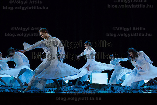Members of the Szeged Contemporary Dance Company perform during a dress rehearsal for the Spring Festival in Budapest, Hungary on March 18, 2014. ATTILA VOLGYI