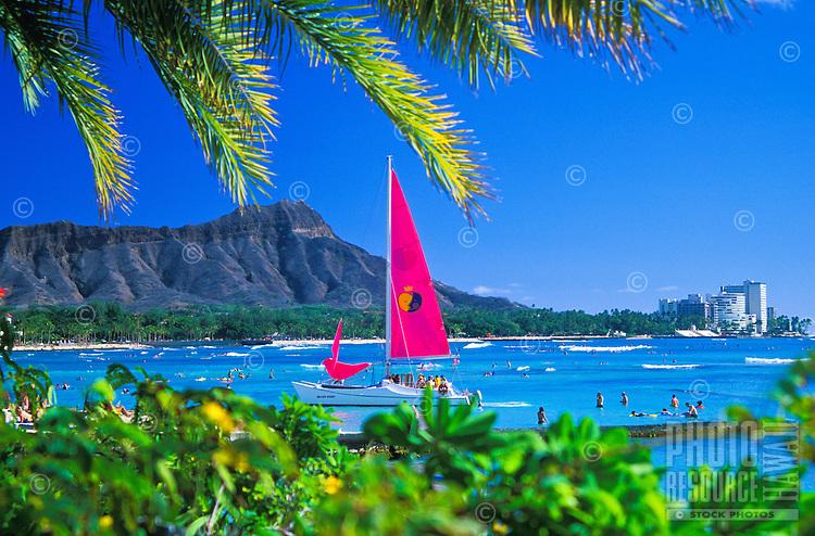 Diamond Head Crater. One of Hawaii's most distinguishable landmarks, located near famous Waikiki Beach on the island of Oahu.