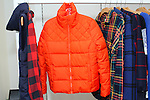 "Orange puffer jacket from the ""Technicolor"" collection, displayed during the Old Navy Holiday 2015 fashion presentation."