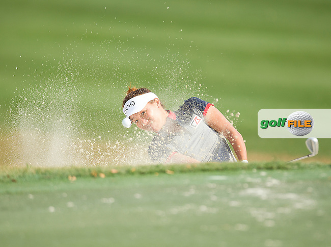 Megan Khang chips out the bunker during the First round of the LPGA Coates Golf Championship 2016 , from the Golden Ocala Golf and Equestrian Club, Ocala, Florida. 3/2/16<br /> Picture: Mark Davison | Golffile<br /> <br /> <br /> All photos usage must carry mandatory copyright credit (&copy; Golffile | Mark Davison)