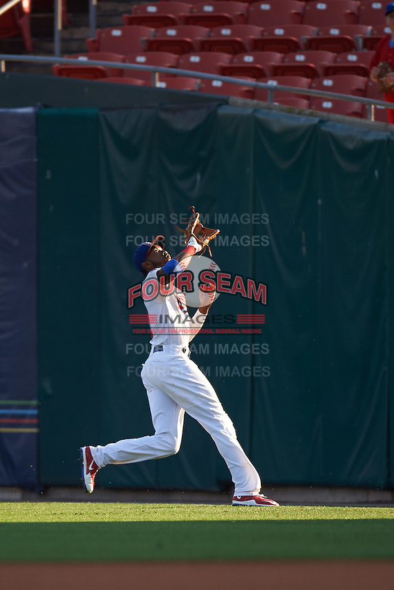 Buffalo Bisons right fielder Domonic Brown (9) tracks down a fly ball during a game against the Norfolk Tides on July 18, 2016 at Coca-Cola Field in Buffalo, New York.  Norfolk defeated Buffalo 11-8.  (Mike Janes/Four Seam Images)