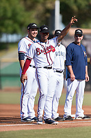 Peoria Javelinas infielder Ray-Patrick Didder (1), of the Atlanta Braves organization, during player introductions before the Arizona Fall League Championship game against the Salt River Rafters at Scottsdale Stadium on November 17, 2018 in Scottsdale, Arizona. Peoria defeated Salt River 3-2 in 10 innings. (Zachary Lucy/Four Seam Images)
