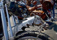 NWA Democrat-Gazette/BEN GOFF @NWABENGOFF<br /> Custom bikes sit on display on Saturday Sept. 26, 2015 during the Stokes Air Battle of the Bikes at the annual Bikes, Blues & BBQ motorcycle rally in downtown Fayetteville.