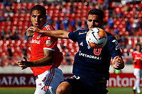 4th February 2020; National Stadium of Chile, Santiago, Chile; Libertadores Cup, Universidade de Chile versus Internacional; Luis del Pino of Universidad de Chile and Paolo Guerrero of Internacional