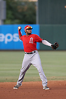 Jose A. Rodriguez (14) of the AZL Angels makes a throw during a game against the AZL Giants at Tempe Diablo Stadium on July 6, 2015 in Tempe, Arizona. Angels defeated the Giants, 3-1. (Larry Goren/Four Seam Images)