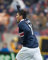 Brian Ching celebrates his goal at Pizza Hut Park in Frisco, Texas, Sunday, Feb. 19, 2005.  USA won 4-0.