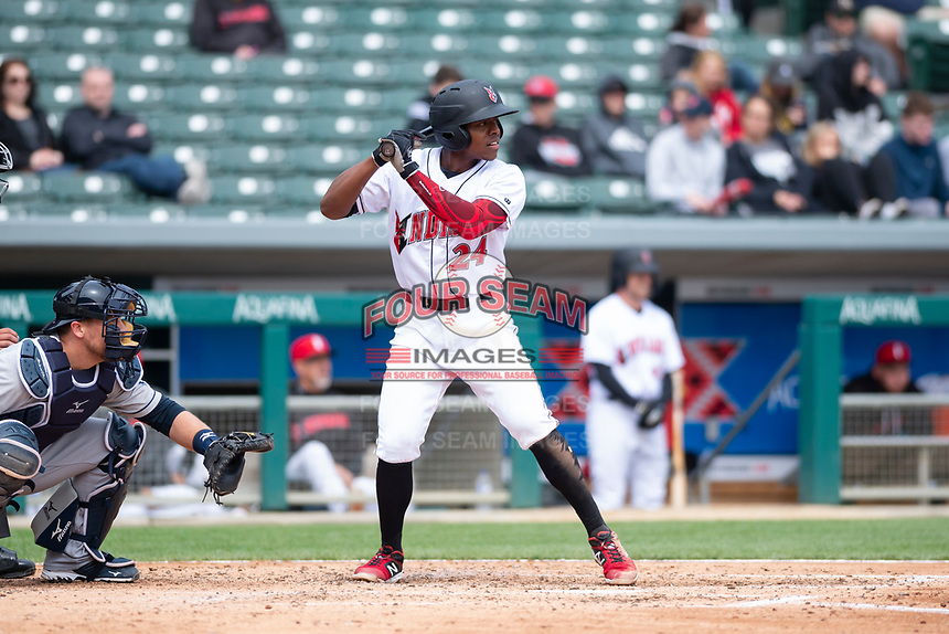 Indianapolis Indians third baseman Ke'Bryan Hayes (24) during an International League game against the Columbus Clippers on April 30, 2019 at Victory Field in Indianapolis, Indiana. Columbus defeated Indianapolis 7-6. (Zachary Lucy/Four Seam Images)