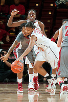 STANFORD, CA-JANUARY 18, 2012 - Amber Orrange creates a turnover in the second half against the visiting Washington State Cougars. The Cardinal defeated WSU 75-41.