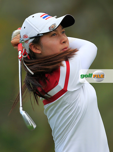 Atthaya Thitikul (THA) on the 12th tee during Round 1 of the Honda LPGA Thailand on Thursday 23rd February 2017.<br /> Picture:  Thos Caffrey / Golffile