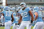 19 November 2016: UNC's Brandon Fritts (82) celebrates his touchdown. The University of North Carolina Tar Heels hosted the The Citadel, The Military College of South Carolina Bulldogs at Kenan Memorial Stadium in Chapel Hill, North Carolina in a 2016 NCAA Division I College Football game. UNC won the game 41-7.