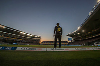 David Warner on the boundary  during the Black Caps v Australia international T20 cricket match at Eden Park in Auckland, New Zealand. 16 February 2018. Copyright Image: Peter Meecham / www.photosport.nz