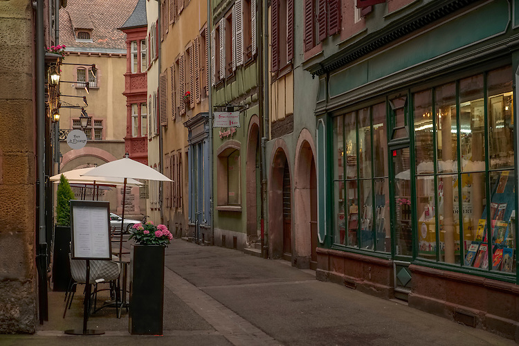 Cobbled lanes weave through picturesque store fronts in the city center area of Colmar.