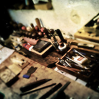 A workbench, with fine craft tools on it, is seen in Jan Madiara's bowmaker workshop in Karlovy Vary, Czech Republic, 17 September 2013.