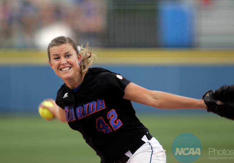 02 JUNE 2009:  Stacey Nelson of the University of Florida pitches against the University of Washington during the Division I Women's Softball Championship held at the ASA Hall of Fame Stadium in Oklahoma City, OK.  Washington defeated Florida 3-2 in game two to win the national championship.  Shane Bevel/NCAA Photos