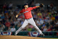 Pawtucket Red Sox relief pitcher Fernando Rodriguez Jr. (29) delivers a pitch during a game against the Rochester Red Wings on July 4, 2018 at Frontier Field in Rochester, New York.  Pawtucket defeated Rochester 6-5.  (Mike Janes/Four Seam Images)