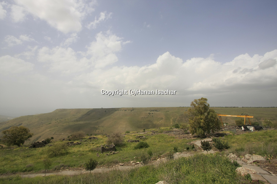 Golan Heights, the ancient Synagogue at Umm el Kanatir that was destroyed by the earthquake of 749 C.E