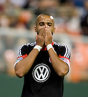 Maicon Santos (29) of D.C. United reacts to a missed chance on goal during the game at RFK Stadium in Washington DC.   D.C. United tied  the Seattle Sounders, 0-0.