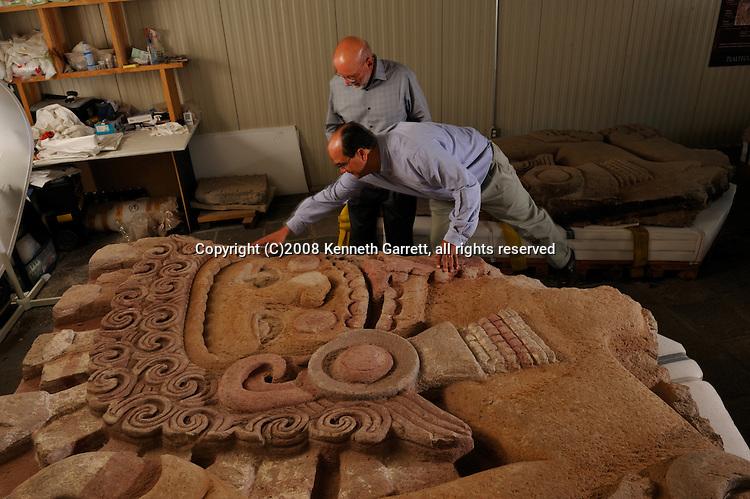 Greatest Aztecs, MM7677,  Mexico City, Mexico, Templo Mayor Museum, Leonardo Lopez Luhan with Eduardo Matos Moctezuma and Tlatecuhtli, Xicuiticutli, Green stone masks