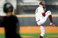 Relief pitcher Mike Volpe #38 of the Minnesota Golden Gophers in action against the Towson Tigers at Gene Hooks Field on February 26, 2011 in Winston-Salem, North Carolina.  The Gophers defeated the Tigers 6-4.  Photo by Brian Westerholt / Four Seam Images