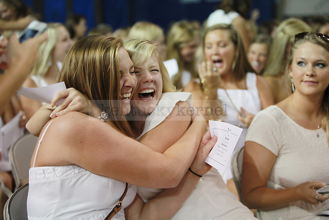 Girls react to their sorority selection at sorority bid day in Lexington, Ky., on Monday August 22nd, 2013. Photo by Emily Wuetcher | Staff