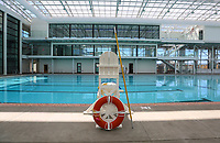 May 3 2019. San Diego, CA. |Saving equipment at the ready at the Plunge the historic swimming pool at Belmont Park in Mission Beach  will soon open again after being remodeled.   | Photos by Jamie Scott Lytle. Copyright.