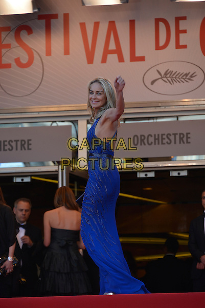 Sharon Stone.'Cleopatra' premiere at the 66th  Cannes Film Festival, France..21st May 2013.full length blue lace dress side hand arm in air waving .CAP/PL.©Phil Loftus/Capital Pictures.