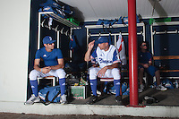 18 July 2010: Pierrick Le Mestre is seen in the dugout next to Jerome Rousseau during day 6 of the Open de Rouen, an international tournament with Team France, Team Saint Martin, Team All Star Elite, at Stade Pierre Rolland, in Rouen, France.