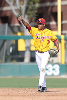 Dante Flores #3 of the USC Trojans during a game against the Northwestern Wildcats at Dedeaux Field on  February 16, 2014 in Los Angeles, California. USC defeated Northwestern, 13-6. (Larry Goren/Four Seam Images)