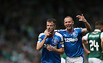 Rangers Andy Halliday (left) celebrates with Kenny Miller after  scoring during the William Hill Scottish Cup Final match at Hampden Park Stadium.  Photo credit should read: Lynne Cameron/Sportimage via Sportimage