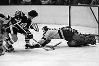 Boston Bruins Doug Gibson shot on Seals goalie Giles Meloche.,  (photo 1973 by Ron Riesterer)