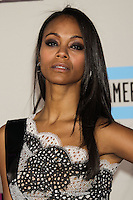 LOS ANGELES, CA - NOVEMBER 24: Zoe Saldana arriving at the 2013 American Music Awards held at Nokia Theatre L.A. Live on November 24, 2013 in Los Angeles, California. (Photo by Celebrity Monitor)