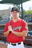 Billings Mustangs catcher Eric Yang (25) poses for a photo before a Pioneer League game against the Grand Junction Rockies at Dehler Park on August 15, 2019 in Billings, Montana. Billings defeated Grand Junction 11-2. (Zachary Lucy/Four Seam Images)