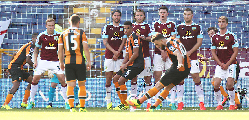Hull City's Robert Snodgrass scores his sides equalising goal from an added time free kick right at the end of the game to make the score 1 - 1<br /> <br /> Photographer Rich Linley/CameraSport<br /> <br /> The Premier League - Burnley v Hull City - Saturday 10th September 2016 - Turf Moor - Burnley<br /> <br /> World Copyright &copy; 2016 CameraSport. All rights reserved. 43 Linden Ave. Countesthorpe. Leicester. England. LE8 5PG - Tel: +44 (0) 116 277 4147 - admin@camerasport.com - www.camerasport.com