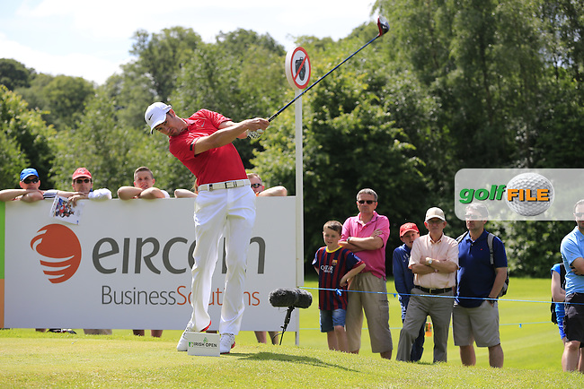 Ross Fisher (ENG) tees off the 10th tee during Sunday's Final Round of the 2014 Irish Open held at Fota Island Resort, Cork, Ireland. 22nd June 2014.<br /> Picture: Eoin Clarke www.golffile.ie