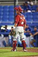 GCL Phillies catcher Rodolfo Duran (10) during the second game of a doubleheader against the GCL Blue Jays on August 15, 2016 at Florida Auto Exchange Stadium in Dunedin, Florida.  GCL Phillies defeated the GCL Blue Jays 4-0.  (Mike Janes/Four Seam Images)